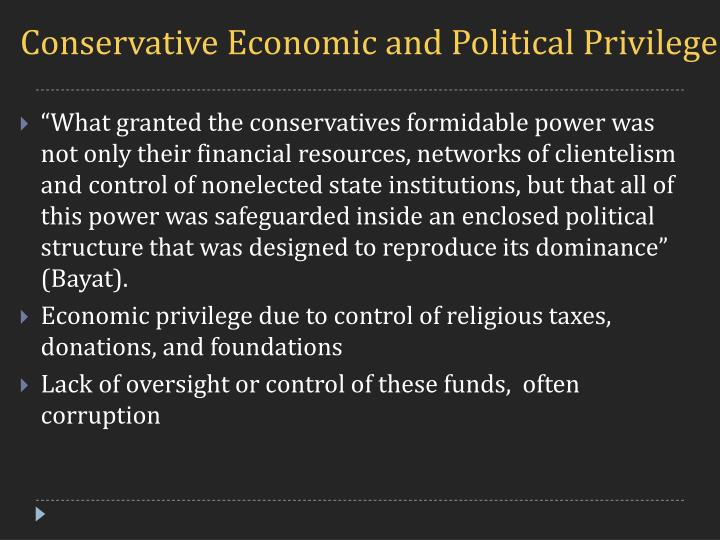 Conservative Economic and Political Privilege