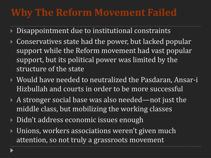 Why The Reform Movement Failed