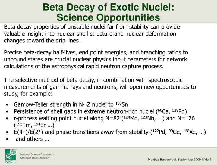 Beta decay of exotic nuclei science opportunities