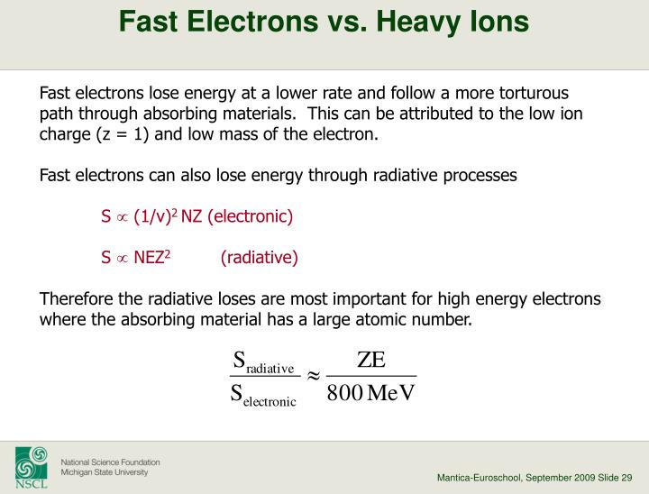 Fast Electrons vs. Heavy Ions