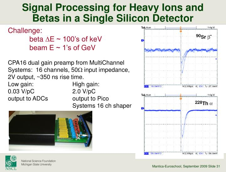 Signal Processing for Heavy Ions and Betas in a Single Silicon Detector