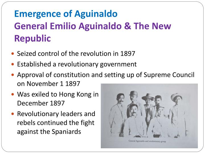 philippine government under general emilio aguinaldo Led by emilio aguinaldo who sought under aguinaldo seized embrace aguinaldo's plans for the philippines.