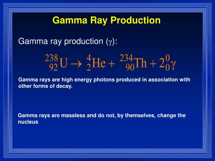 Gamma Ray Production