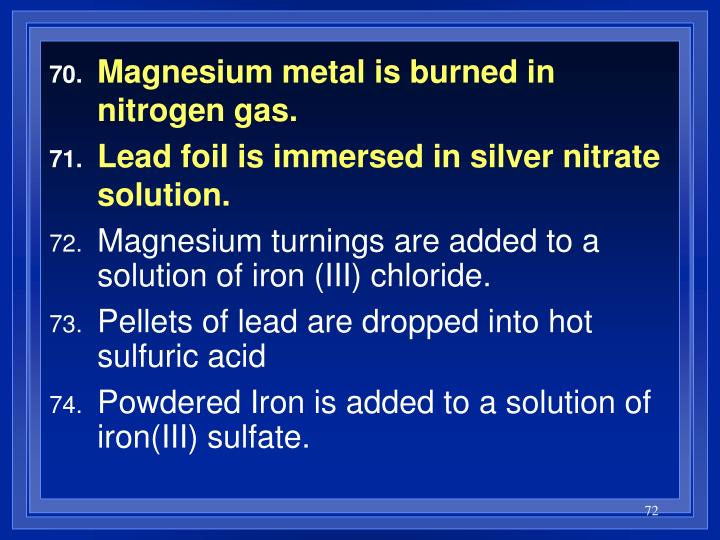 Magnesium metal is burned in nitrogen gas.
