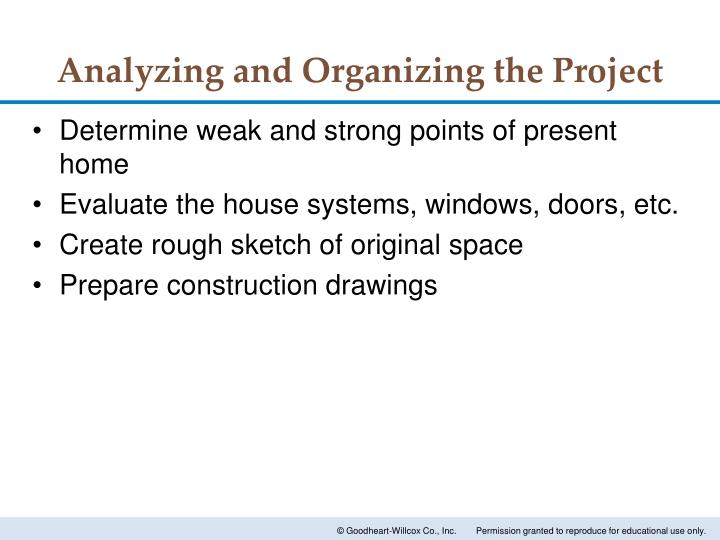 Analyzing and Organizing the Project