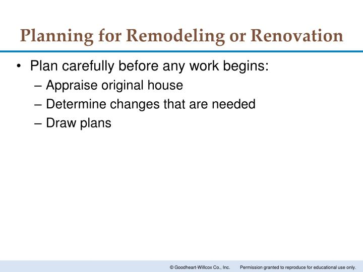 Planning for Remodeling or Renovation