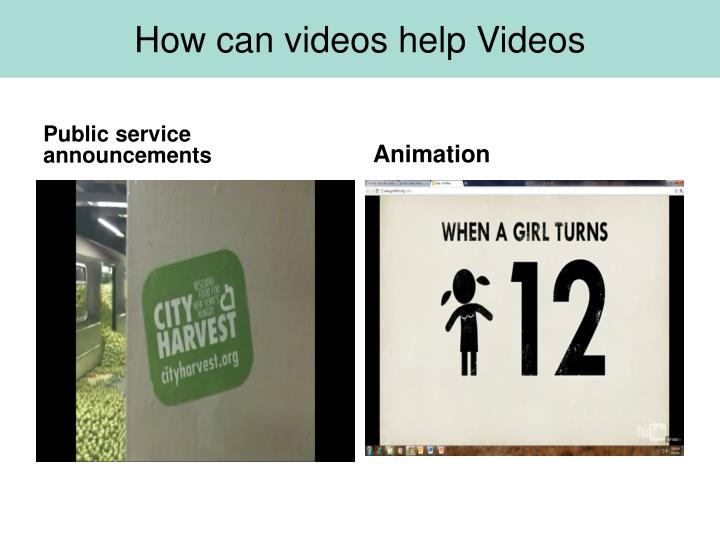 How can videos help Videos
