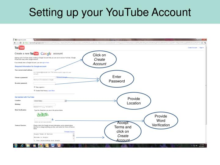 Setting up your YouTube Account