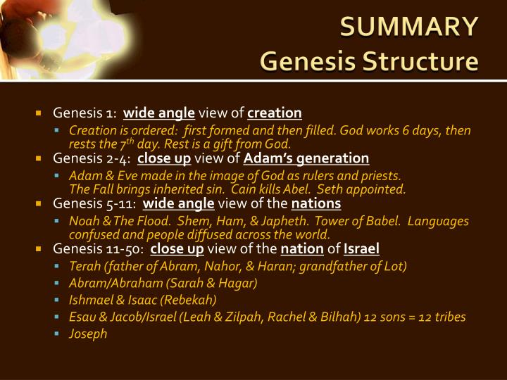 Summary genesis structure