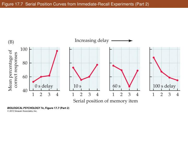 Figure 17.7  Serial Position Curves from Immediate-Recall Experiments (Part 2)