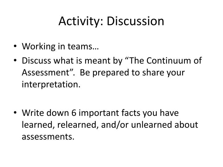 Activity: Discussion