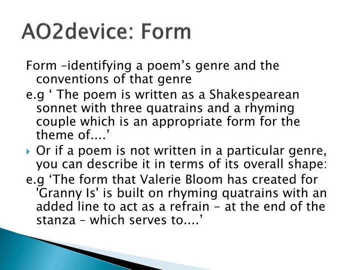 AO2device: Form