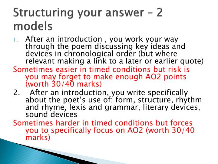 Structuring your answer 2 models