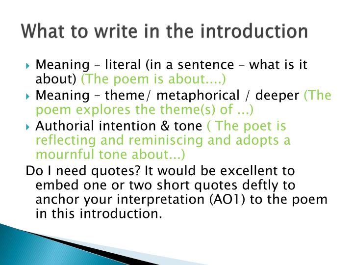 What to write in the introduction