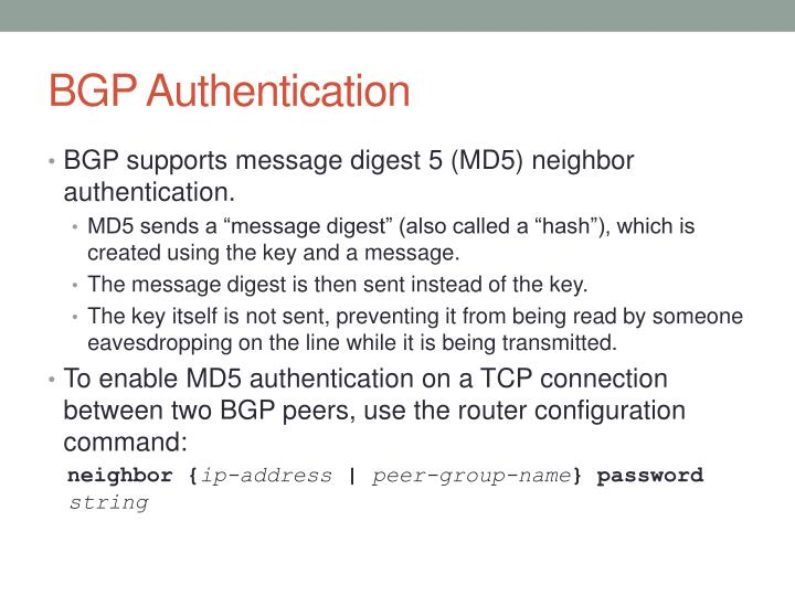 BGP Authentication