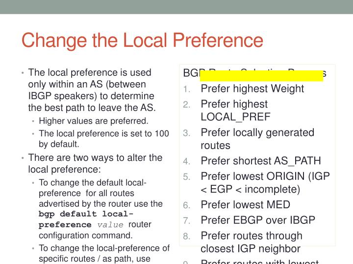 Change the Local Preference