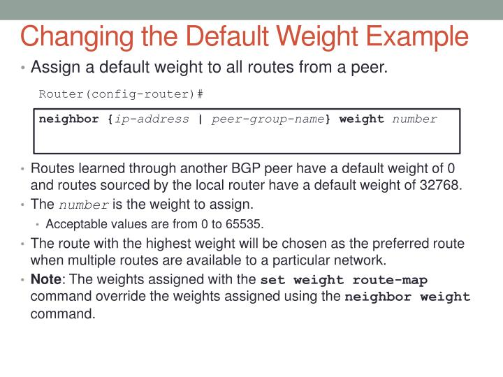 Changing the Default Weight Example