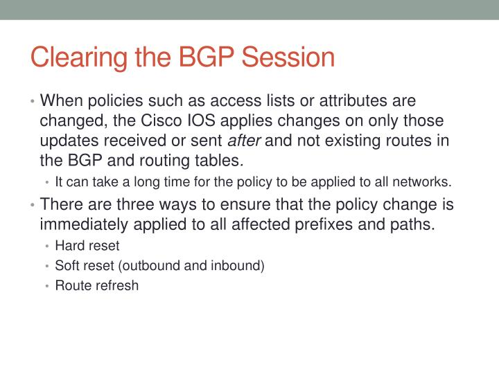 Clearing the BGP Session