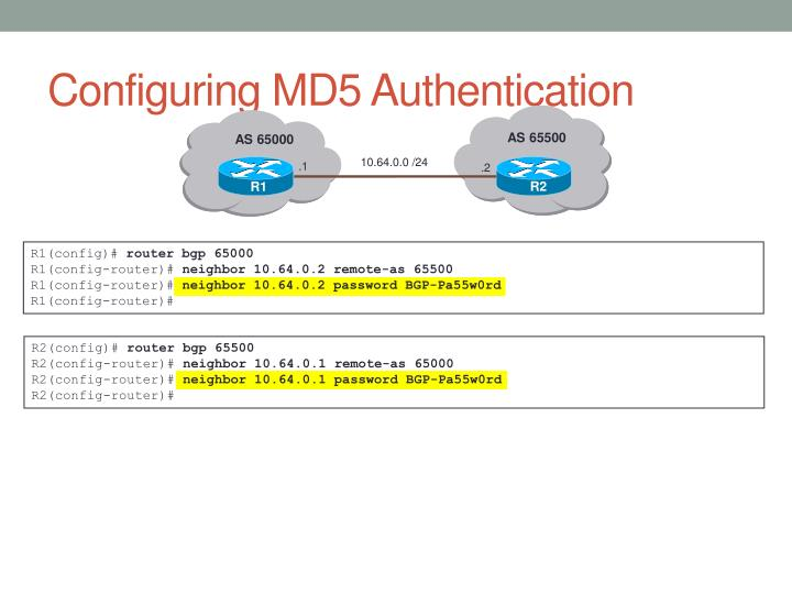 Configuring MD5 Authentication