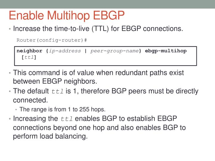 Enable Multihop EBGP