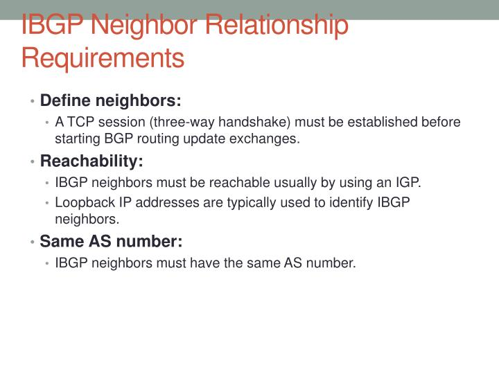 IBGP Neighbor Relationship