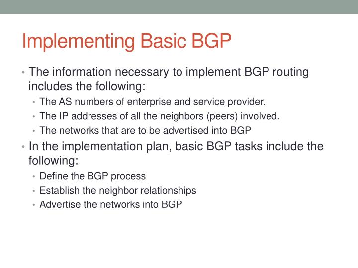 Implementing Basic BGP