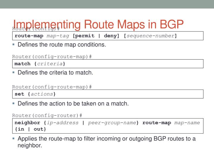 Implementing Route Maps in BGP