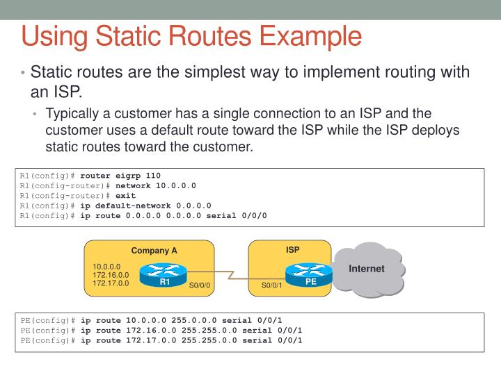 Using Static Routes Example