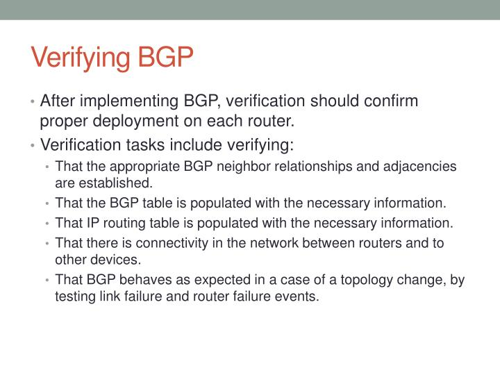Verifying BGP