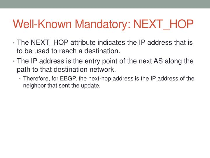 Well-Known Mandatory: NEXT_HOP