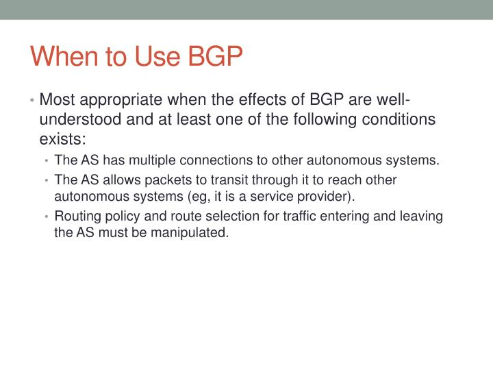 When to Use BGP