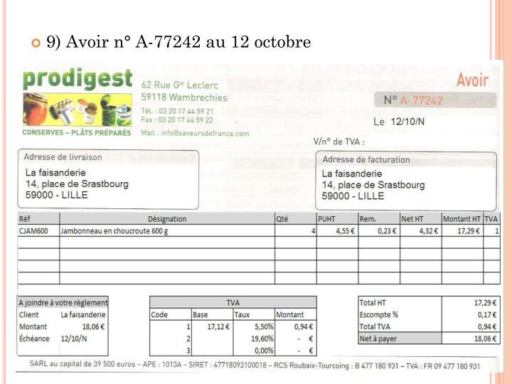 9) Avoir n° A-77242 au