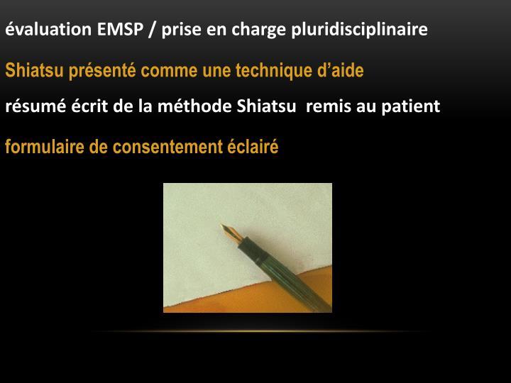 valuation EMSP / prise en charge pluridisciplinaire