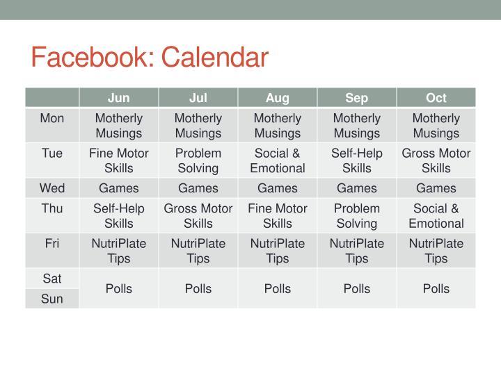 Facebook: Calendar