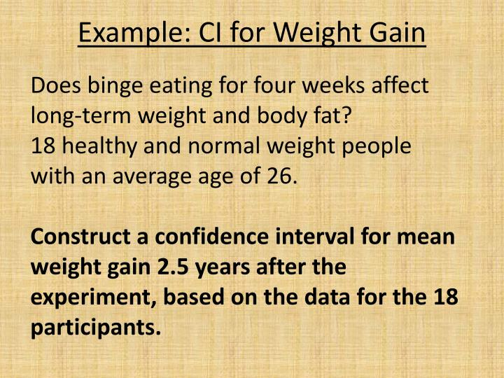Example: CI for Weight Gain