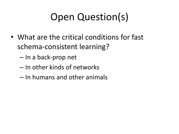 Open Question(s)