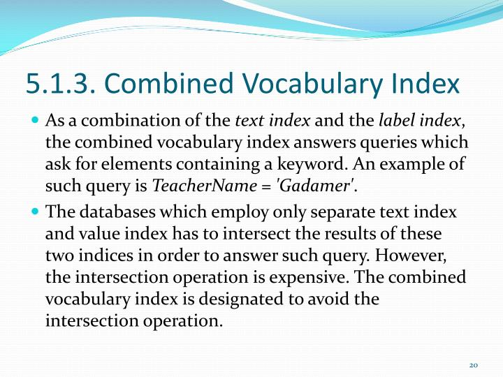 5.1.3. Combined Vocabulary Index