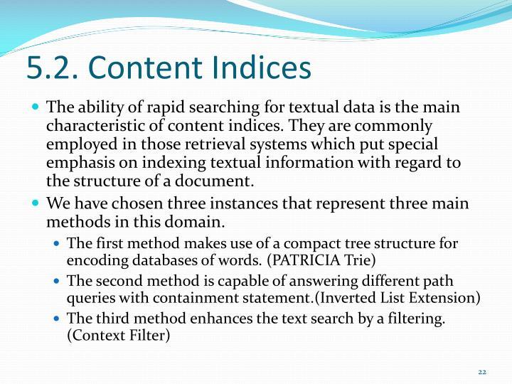5.2. Content Indices