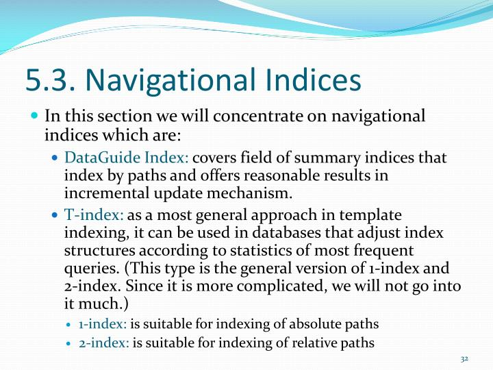 5.3. Navigational Indices