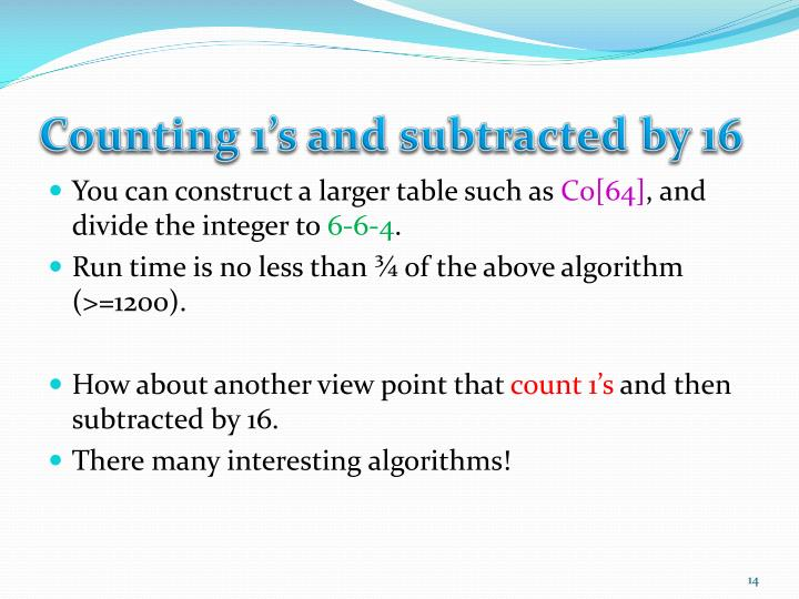 Counting 1's and subtracted by 16