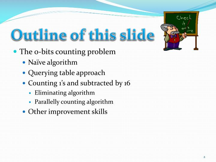 Outline of this slide