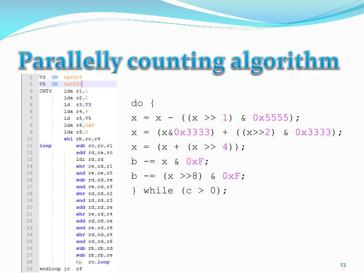 Parallelly counting algorithm