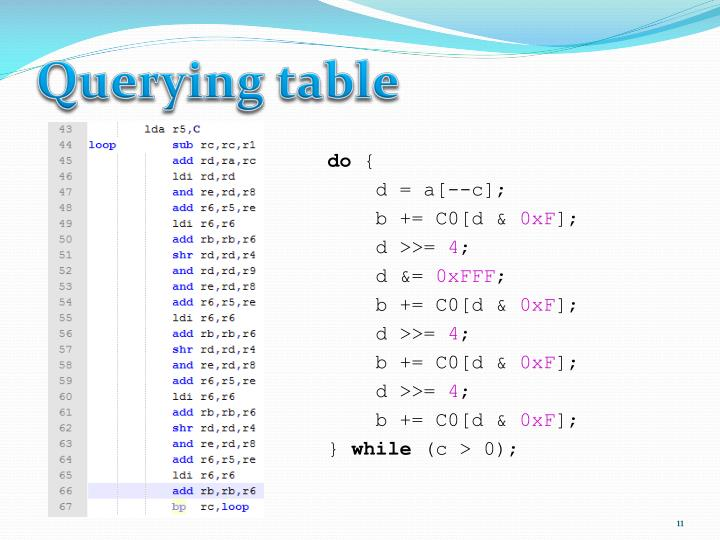 Querying table