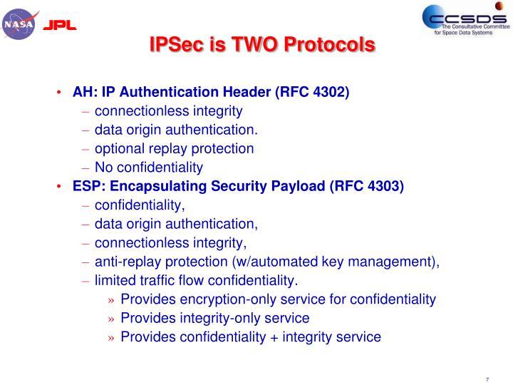 IPSec is TWO Protocols