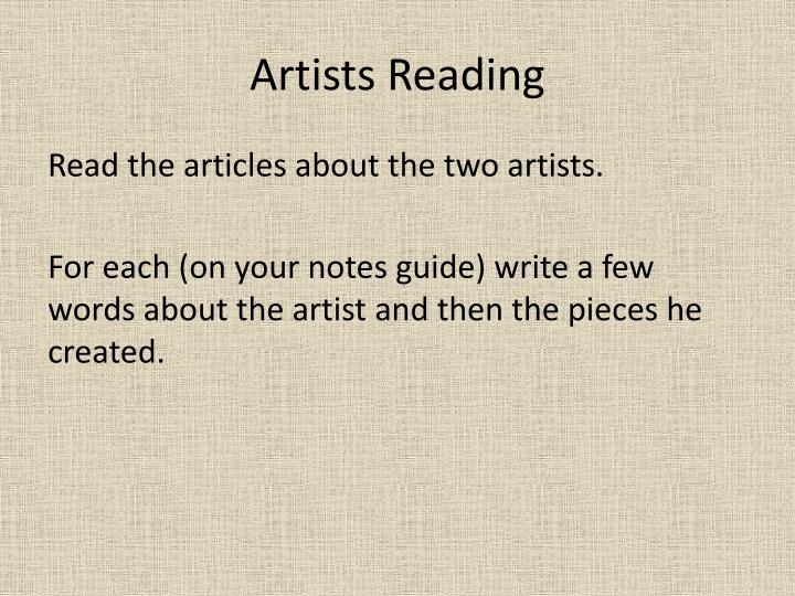Artists Reading
