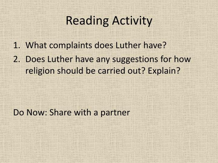 Reading Activity