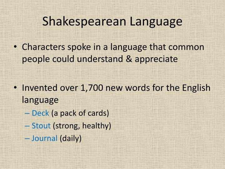 Shakespearean Language