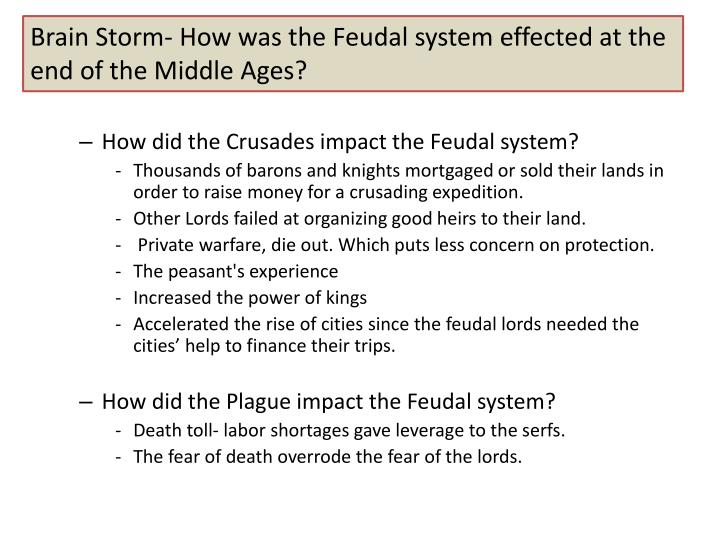 Brain Storm- How was the Feudal system effected at the end of the Middle Ages?