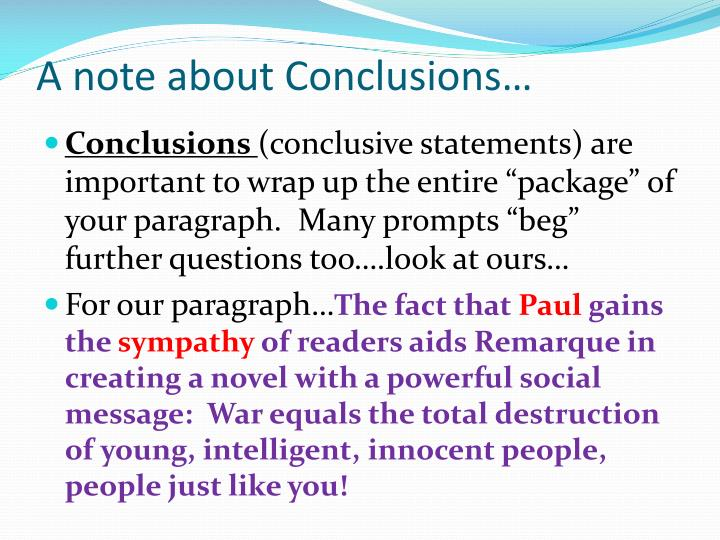 A note about Conclusions…