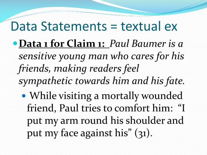 Data Statements = textual ex